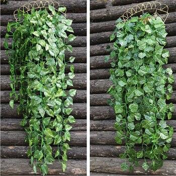 High Simulation Wall Hanging Vine Leaf Artificial Green Wisteria Garland Plant Rattan For Xmas Wedding Home Decor фото