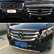 Yimaautotrims Front Face Grille Lid Bezel Cover Trim 5 Pcs / Set For Mercedes-Benz Vito W447 2014 - 2018 Exterior Kit ABS Chrome