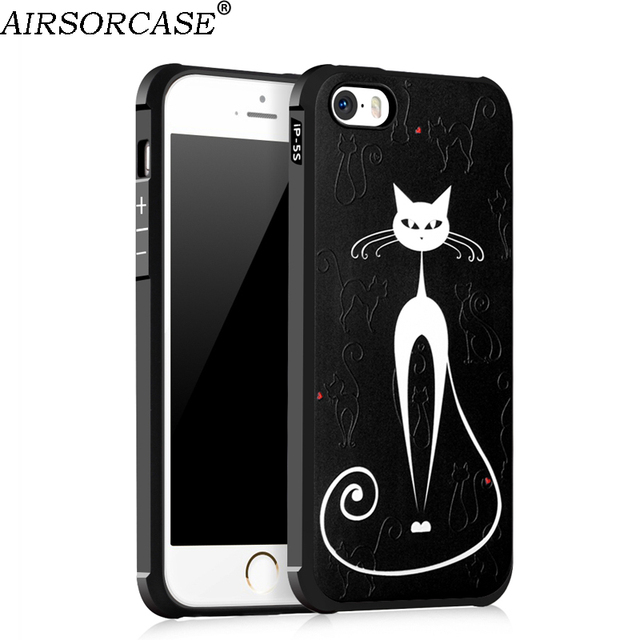 online retailer 0a608 e326c US $4.77 |For Apple iPhone 5s Case 4.0'' for iPhone 5 SE 5e Cover Fashion  3D Painted Anti knock Silicone TPU Back Cover Mobile Phone Cases-in Fitted  ...