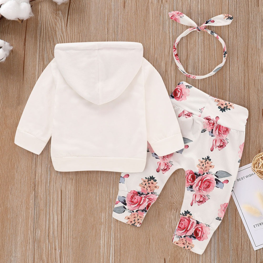 Perfect Baby Toddler Girls Floral Outfit Set Top Sweatshirt Headband Pants