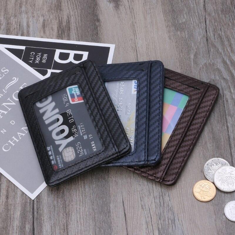 Wallet Card-Holder Credit-Card Carbon-Fiber Case Bank Faux-Leather Slim 3-Colors Bag