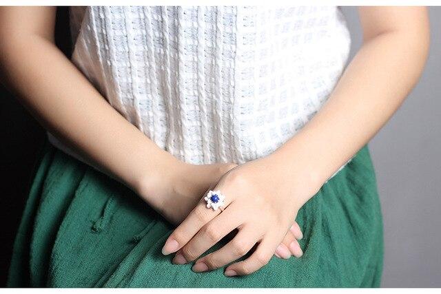 Женские открытые кольца в виде цветка лотоса серебро 925 пробы