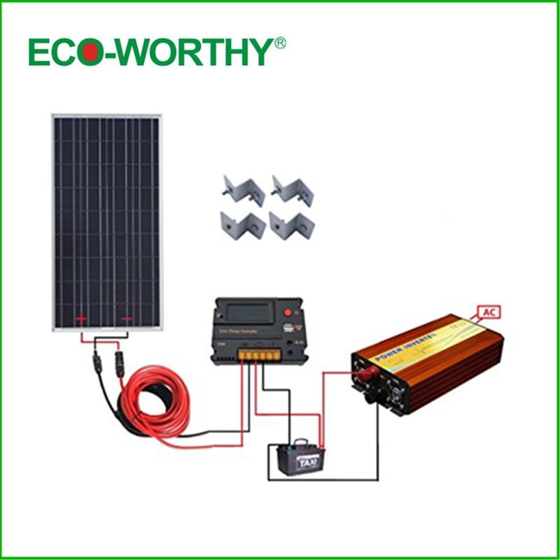 ECO-WORTHY USA UK Stock 100W Off Grid Solar Panel Kit W/ Temperature Regulator 1KW Pure Sine Inverter Solar Generators uk stock 120w foldable solar panel ideal for caravan includes regulator complete kit