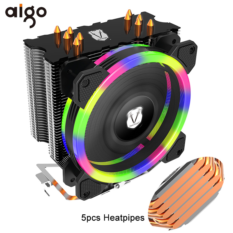Aigo 5 Heatpipes CPU Cooler Radiator Led RGB TDP 280W Heat Sink AMD Intel Silent 120mm 4Pin PC CPU Cooling Cooler Heatsink Fan-in Fans & Cooling from Computer & Office