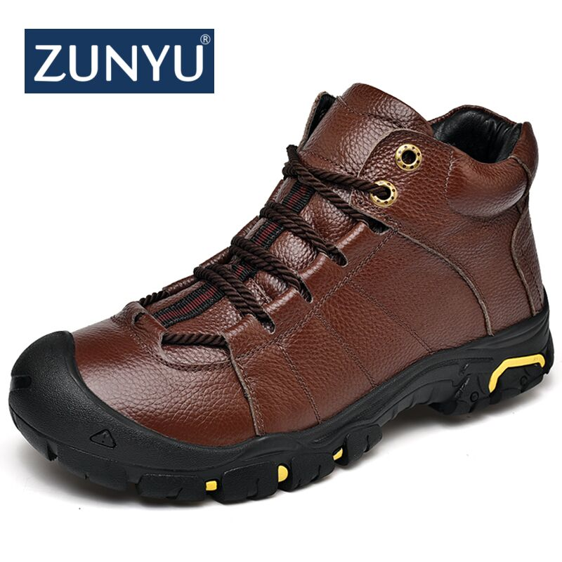 ZUNYU 2018 New Men Winter Fur Warm Snow Boots For Outdoor Men's Sneakers Male Cow Leather Casual Shoes Adult Plush Ankle Boots