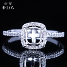 HELON Solid 14K (585) White Gold 0.25CT Natural Diamonds Engagement Wedding Cushion Cut 6×5.5mm Semi Mount Women Jewelry Ring