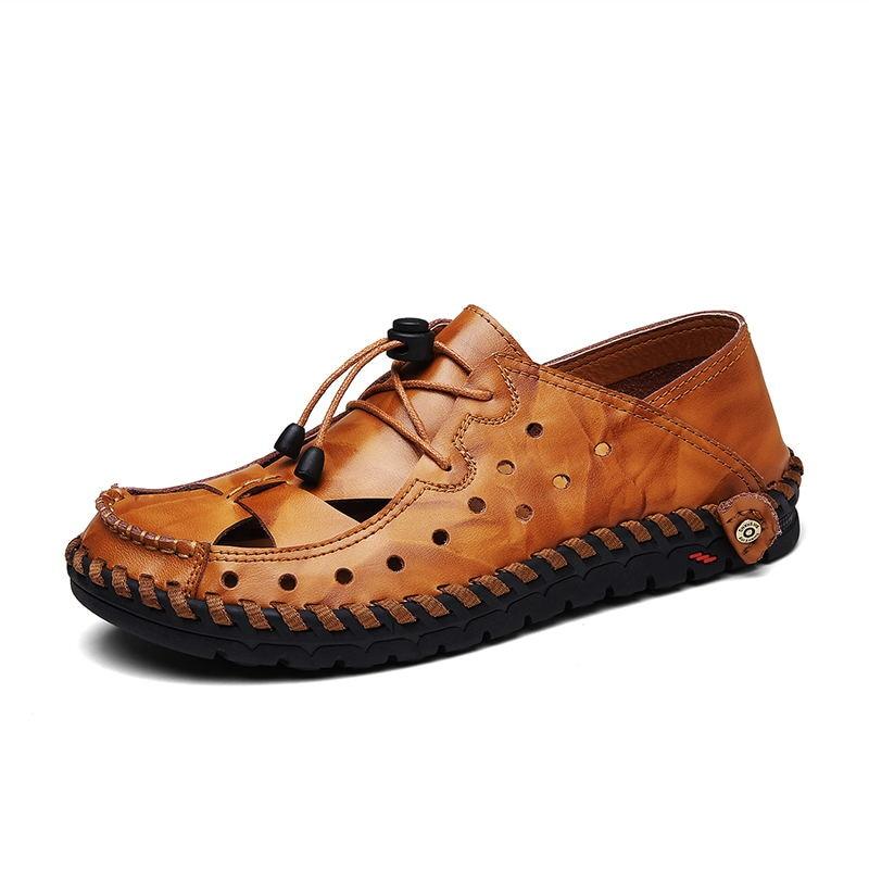 LAISUMK Men Sandals Genuine Leather Fashion Gladiator Summer Beach Slippers Slip On Flip Flops Men Shoe Zapatos Sandalias Hombre in Men 39 s Sandals from Shoes