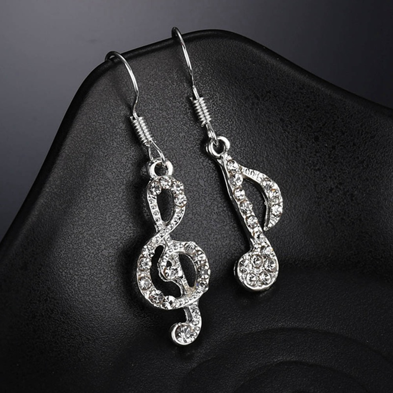 New Fashion Asymmetrical Music Note Pendant Full Crystal Charm Dangle Earrings boucle d'oreille For Women