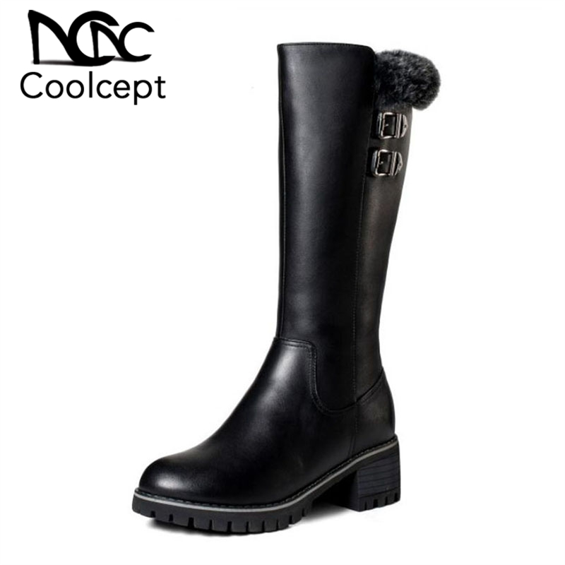 Coolcept High Quality Women High Heel Boots Genuine Leather Plush Platform Shoes Women Winter Fur Thick Heel Shoes Size 35-41Coolcept High Quality Women High Heel Boots Genuine Leather Plush Platform Shoes Women Winter Fur Thick Heel Shoes Size 35-41