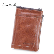 CONTACTS Genuine Leather Men Wallet Short Coin Purse Male Small Vintage Hasp Wallets High Quality Card Holders Cuzdan For Man
