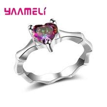 Bagues scintillantes en argent Sterling 925, accessoires romantiques de mariage/fiançailles, bijoux pavés brillants en pierre de cœur étincelante