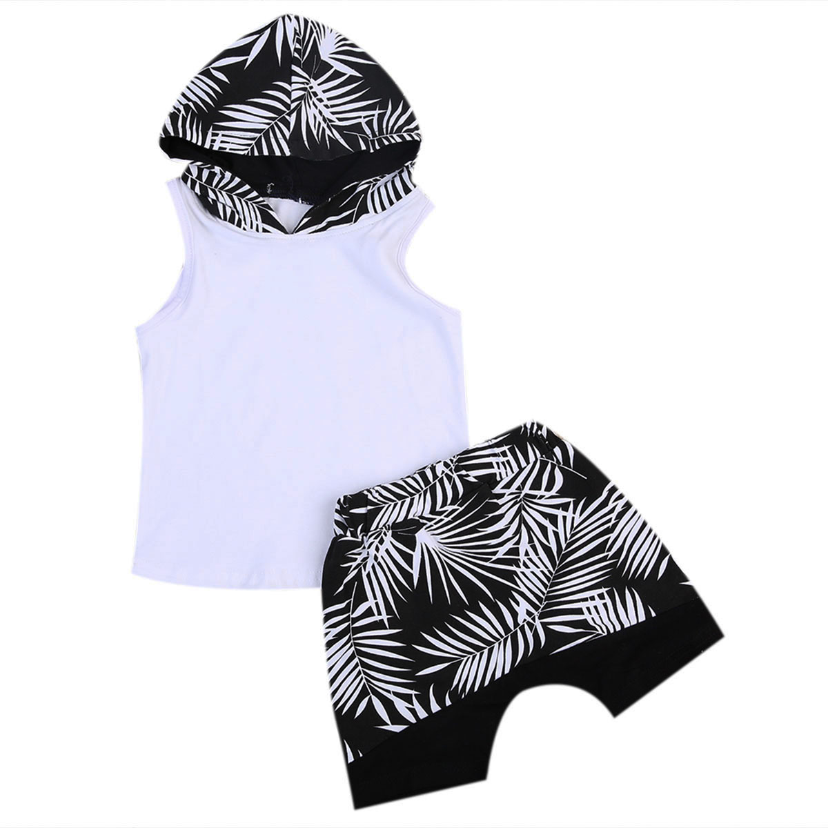 2017 Summer Children Boy Clothes Set Sleeveless Hooded Vest T-shirt Tops+Shorts Hot Pant 2PCS Toddler Kids Clothing 2017 new fashion kids clothes off shoulder camo crop tops hole jean denim pant 2pcs outfit summer suit children clothing set