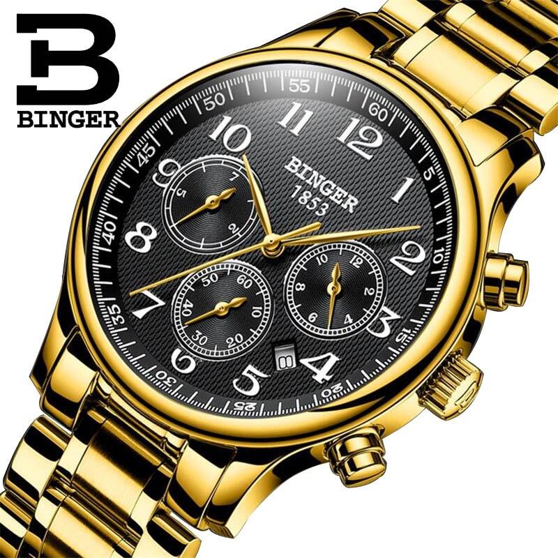 سويسرا بينغر ستة إبر الميكانيكية للرجال ساعات الأعلى العلامة التجارية الفاخرة الفولاذ المقاوم للصدأ ثلاثة بطلب صغير ساعات أوتوماتيكية الرجال-في الساعات الميكانيكية من ساعات اليد على  مجموعة 1