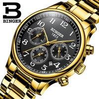 Suíça binger seis agulhas relógios mecânicos dos homens marca superior luxo aço inoxidável três pequenos mostradores relógios automáticos men'