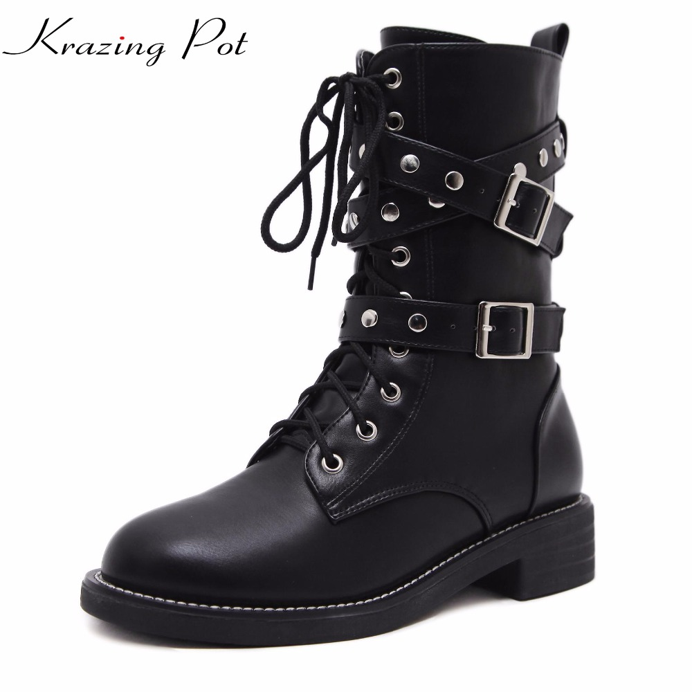 Krazing Pot 2018 new arrival round toe keep warm PU lace up winter boots low heel rivets solid women Mid-Calf riding boots L6f2 new arrival 2016 winter keep warm women boots low heel round toe platform shoes solid genuine leather mid calf boots