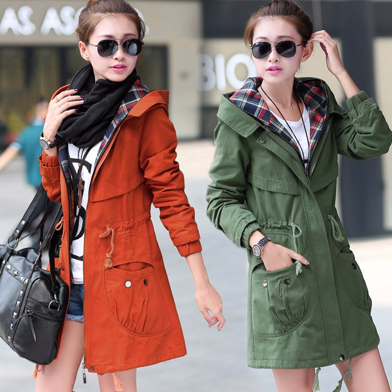 2016 Fashion Trench Coat For Women Ladies Casual Windbreak Feminino Long Sleeve Female Outwear Coat Plus Size