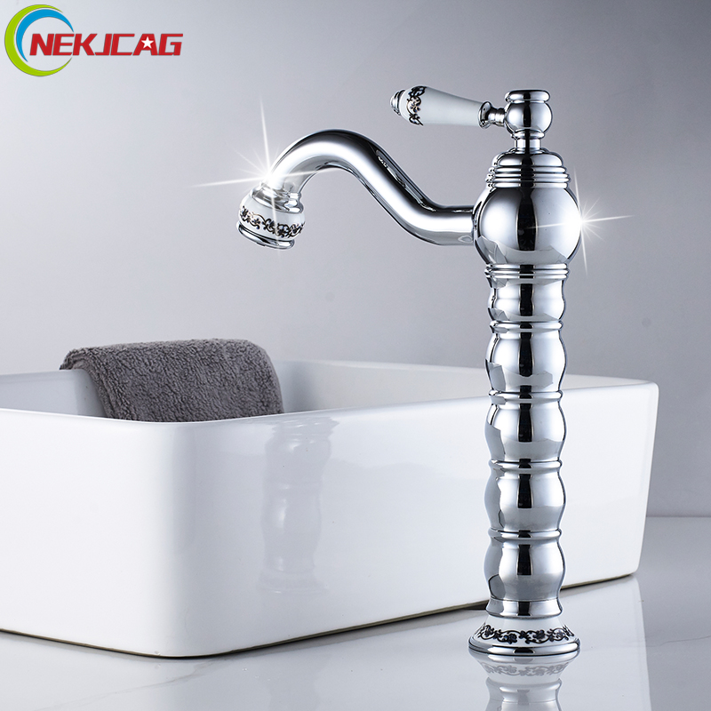 Bathroom Basin Faucet Chrome Finished Mixer Water Taps Deck Mounted Free Shipping