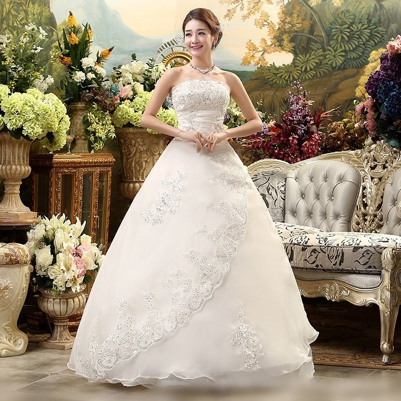 Image 5 - Vestidos De Novia White Wedding Dresses Strapless Ruched Beaded Embroidery Elegant Bride Dresses With Sweep Train Gelinlik 2019-in Wedding Dresses from Weddings & Events