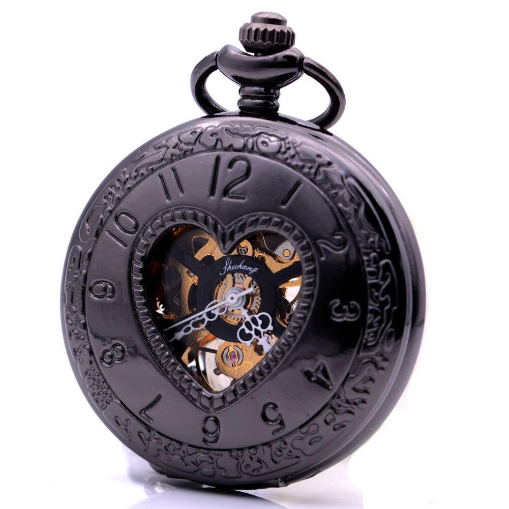 Steampunk Cool Black Heart Love Hand Wind Mechanical Pocket Watch Mens Pocket Chain Arabic Numerals Gift