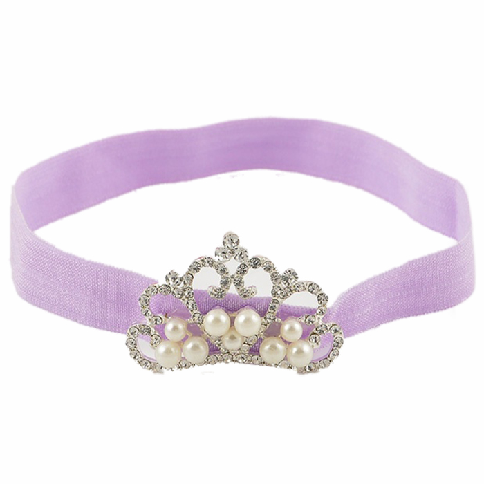 1Pc Baby Kids Infant Toddler Girl Princess Crown Pearl Headband Hairband Hair Band light purple