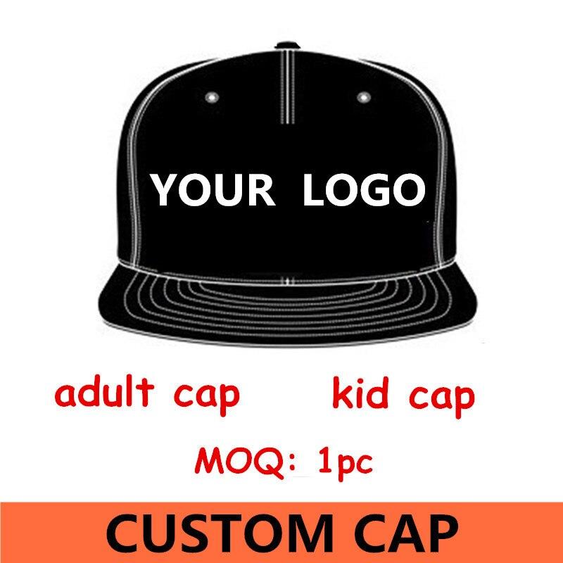 1pc logo custom Men's snapback baseball cap flat bill peak sport hat design 3D embroidery print free shipping