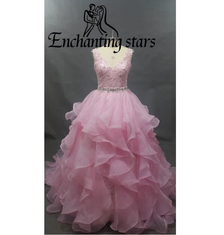 Pretty Pink Organza Princess Quinceanera Dresses Cascading Ruffles Lace Appliques Lovely Girls Vestidos De 15 Anos Sweet 16 Gown - Molibridal_ Store store