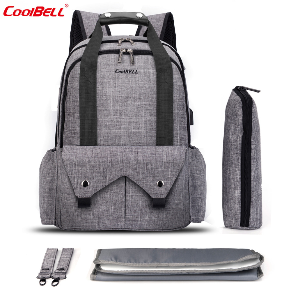 CoolBell Nappy Bag Big Capacity Baby Diaper Bag Waterproof Mom Travel Backpack Multifunction Stroller Bag