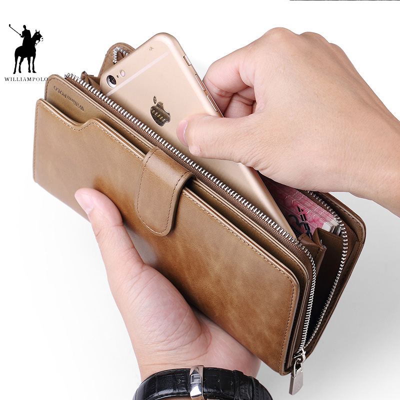 WILLIAMPOLO Card holder Leather Wallet men Long Design Quality passport cover Fashion Men Purse Zipper Multi-function coin bag цена 2017