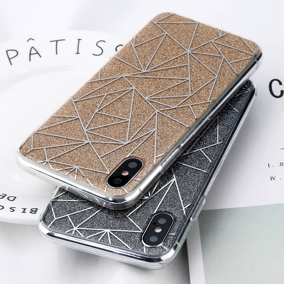 Phone - Glitter Bling Powder Phone Case For iPhone X Geometric Lines Hard PC Back Cover Cases For iPhone 8 7 6 6s Plus 5 5s SE