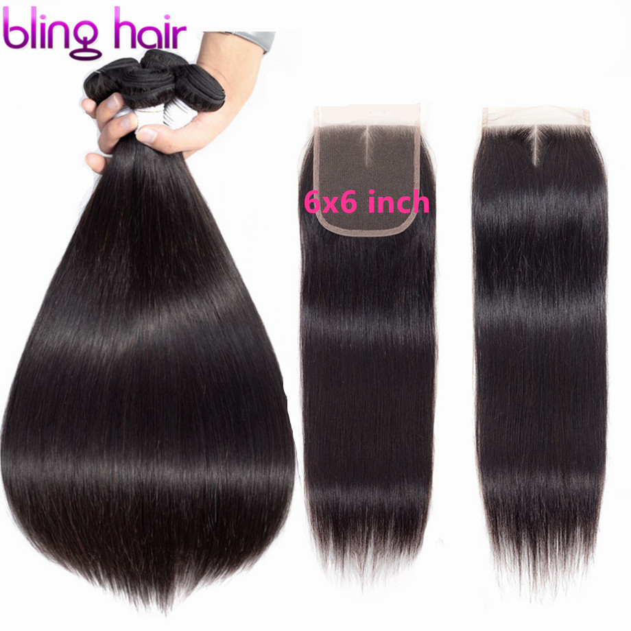 bling hair 6x6 Lace Closure and Bundles Straight Hair Bundles with Closure Peruvian Human Hair Extensions