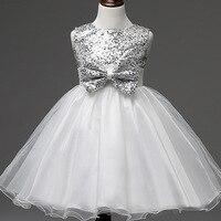 2016 Toddler Wedding Dress Princess Baby Girl Dress Children Bow Sequins Tulle Tutu Dress Kids Party