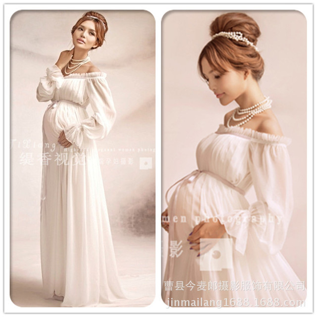 c697c8630b6e6 Elegant lace Maternity dress Photography Props Long dress pregnant women  clothes Fancy Pregnancy Photo props Shoot hamile elbise