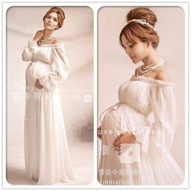 2b25738c46f5 Elegante pizzo maternità dress photography oggetti di scena lungo dress donne  incinte vestiti fancy gravidanza puntelli