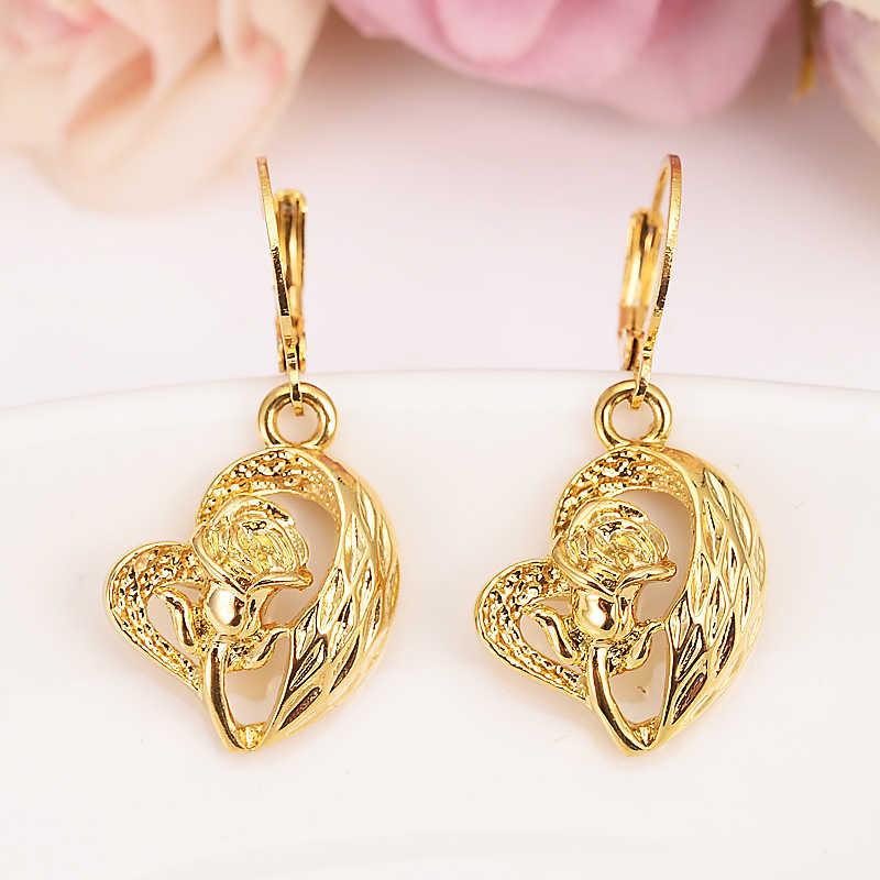 Gold liebe tropfen ohrring Äthiopischen/Nigeria/Kenia/Ghana Gold farbe Dubai afrikanische Arabischen Nahen Östlichen Schmuck Mom geschenke