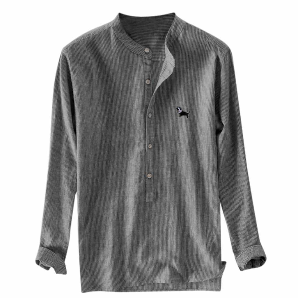 Camicia a maniche lunghe in cotone ricamato a righe larghe da uomo, camicia taglie forti, camicia hawaiana, camicia da uomo, 2019