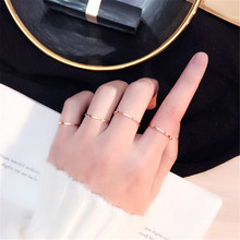 Ailodo Simple Fashion Rings For Women Girls Titanium Steel Super Thin Index Finger Tail Rings Party Wedding Jewelry Gift LD191(China)