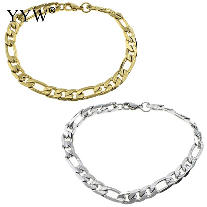 Fashion High Quality Stainless Steel Bracelet Gold Color Pop Punk Rock Style Round Chain Link Bracelet Men Wrist Band Jewelry
