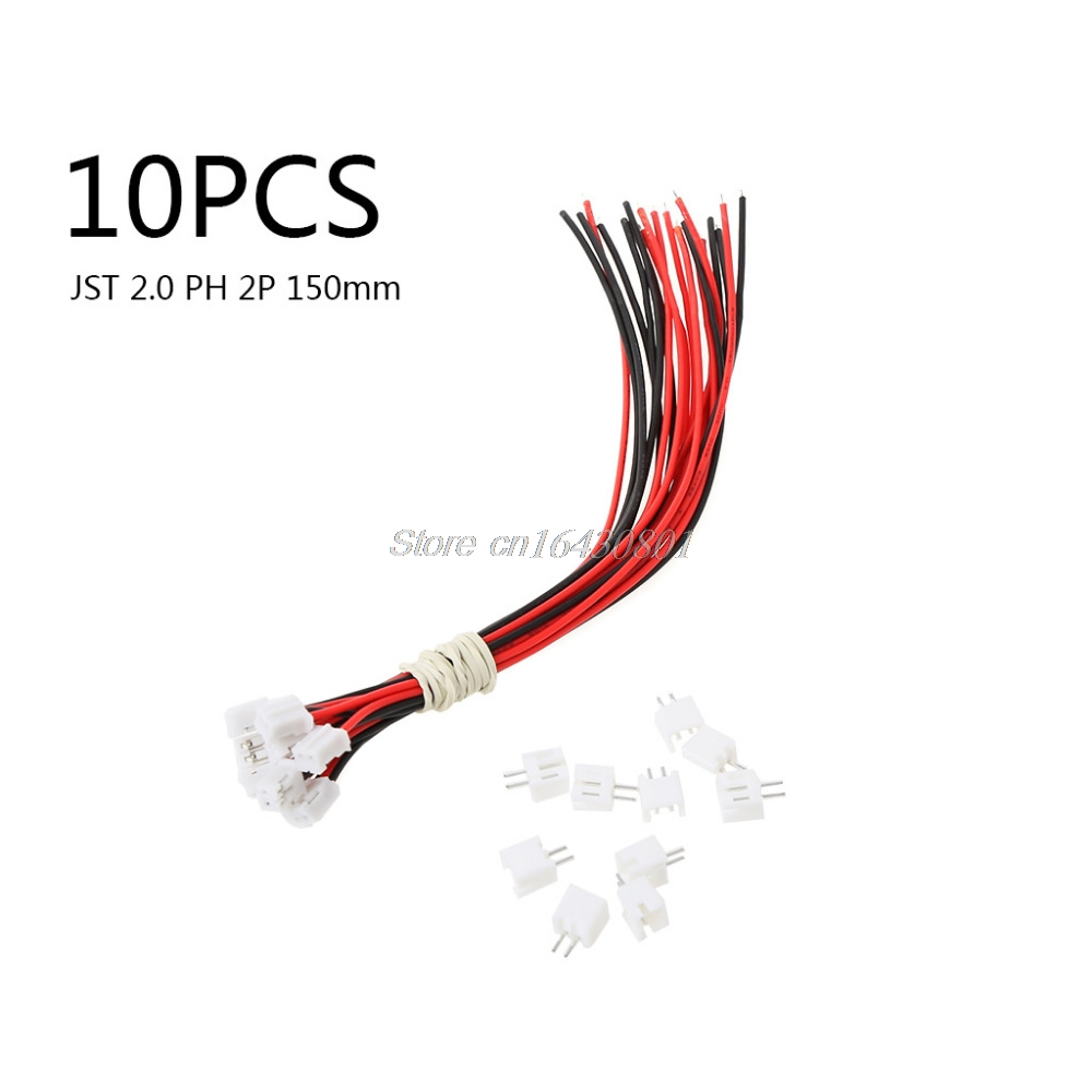 10 Sets/Lot Micro JST 2.0 PH 2-Pin Connector plug with Wires Cables 150MM New S18 Drop ship mini micro jst 2 0mm t 1 6 pin connector w wire x 10 sets 6pin 2 0mm