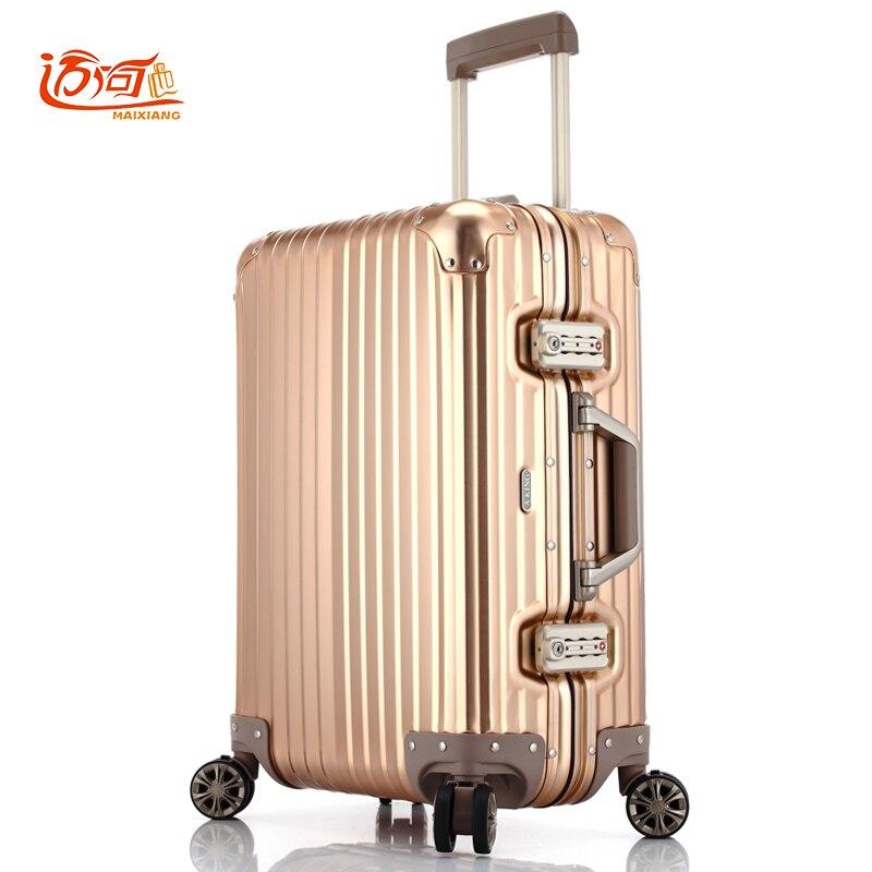 100% Voll Aluminium-magnesium-legierung Aluminium Koffer Koffer Für Mädchen 20/25 Zoll Aluminium Gepäck Wasserdicht Handgepäck Seien Sie In Geldangelegenheiten Schlau