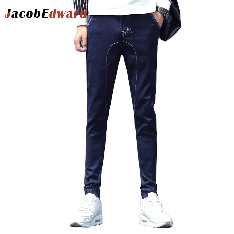 Fashion Casual Men's Jeans Black Slim Fit Brand Clothing 2017 Male Denim Trousers Winter Warm Ripped For Men