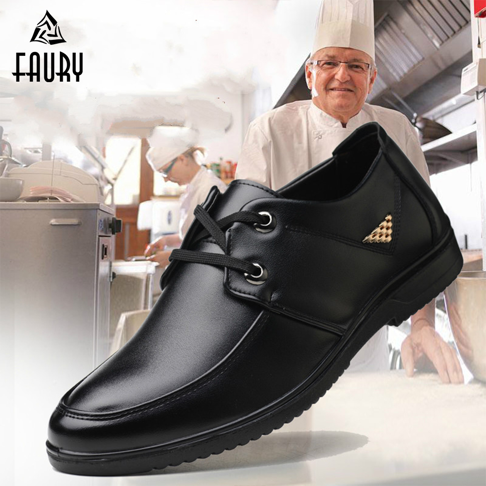 Chef Waiter Shoes Men's Non-slip Oil-proof Restaurant Hotel Labor Insurance Shoes Breathable Comfortable Kitchen Footwear
