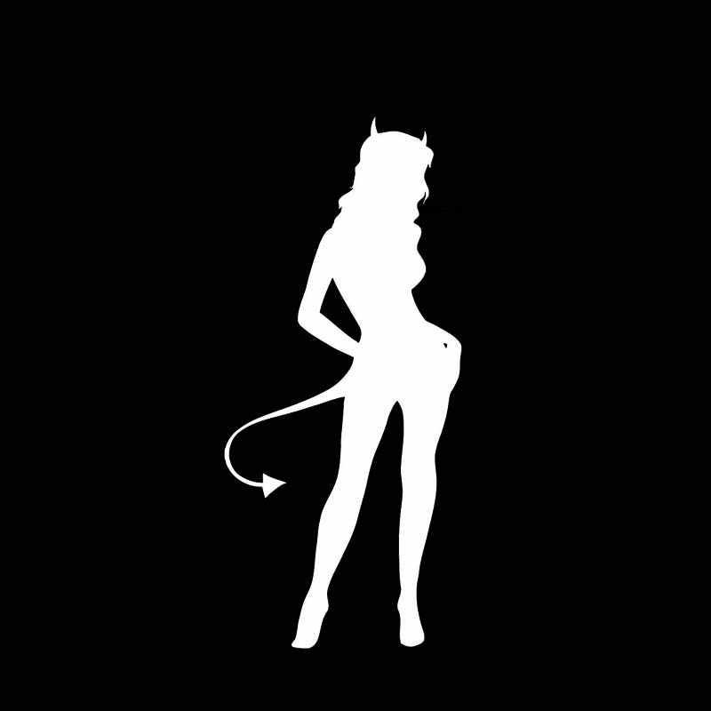YJZT 6.2*13.7CM seksi koyu kötü şeytan kız mükemmel kalite vinil çıkartması siyah/gümüş araba Sticker moda stil C20-0816