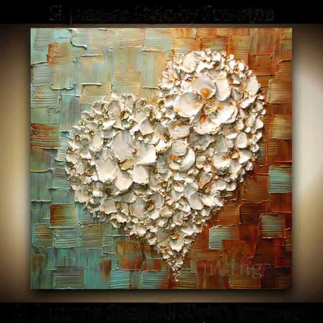 Handmade Abstract Thick Texture Flowers Art White Heart
