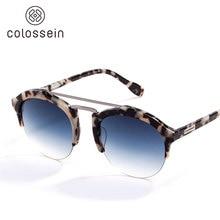 Colossein Мода Солнцезащитные очки для женщин Для мужчин лето Винтаж праздник кошачий глаз Стиль круглый Очки Новинка 2017 года популярные очки Orange label