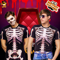 Halloween Men skeleton 3 D Print T shirt Role Play Skeleton Top Disguise T shirt for Adult Man