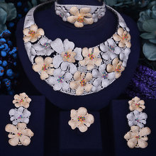 SisCathy Exquisite Full Cubic Zircon Boom Flowers Jewelry Sets 4Pcs Luxury Romantic Performance Bridal Wedding 2019