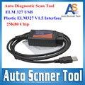 Топ + Качество 2016 Автоматический Диагностический Scan Tool Пластиковые ELM 327 25K80 Чип USB ELM327 V1.5 Версия OBD2/OBDII CANBUS Сканер