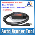 Top A+ Quality 2016 Auto Diagnostic Scan Tool Plastic ELM 327 25K80 Chip USB ELM327 V1.5 Version OBD2 / OBDII CANBUS Scanner