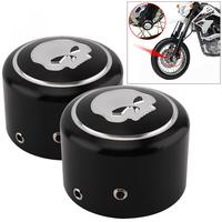 1 Pair CNC Aluminum Motorcycle Front Axle Nut Cover With Skull Pattern And Screws For Harley