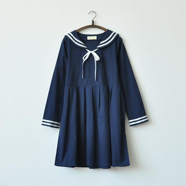 4a2b14ddf87 2019 Automne hiver Japon style col marin à manches longues blanc bleu marine  robe Mori filles